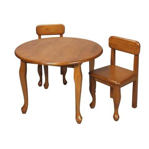 Queen Anne Round Table and 2 Chairs - Honey