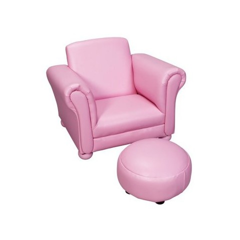 Vinyl Upholstered Chair with Ottoman - Pink