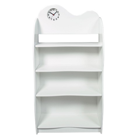"""Children's White Scalloped Backed Bookcase with Clock 47""""x24.25""""x13"""""""
