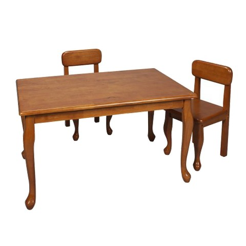 Queen Anne Rectangle Table and 2 Chairs - Honey
