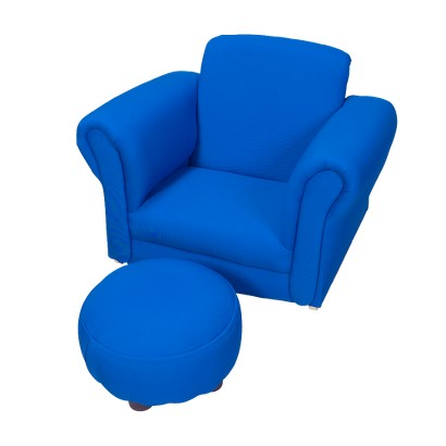 Children's Blue Upholstered Rocking Chair and Ottoman
