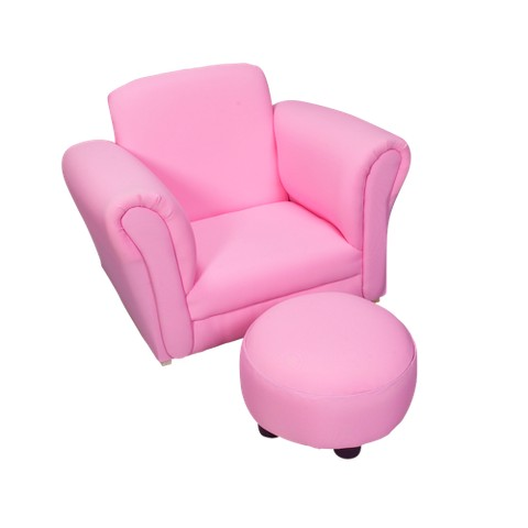Children's Pink Upholstered Rocking Chair and Ottoman