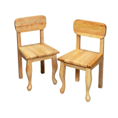 Pair Queen Anne Chairs-Natural