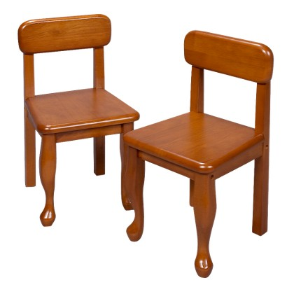 Pair Queen Anne Chairs-Honey