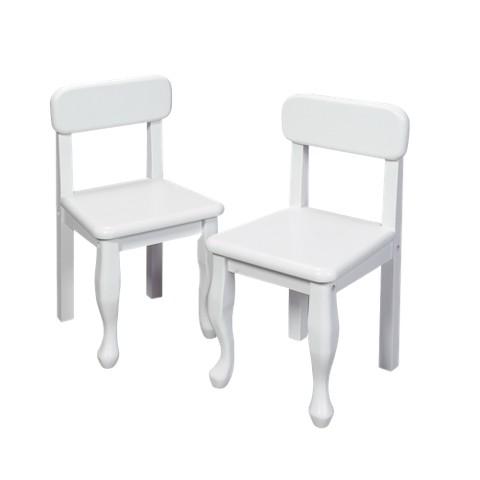 Pair Queen Anne Chairs-White
