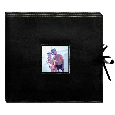 Sewn Leatherette D-Ring Scrapbook - Black