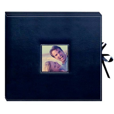 Sewn Leatherette D-Ring Scrapbook - Navy