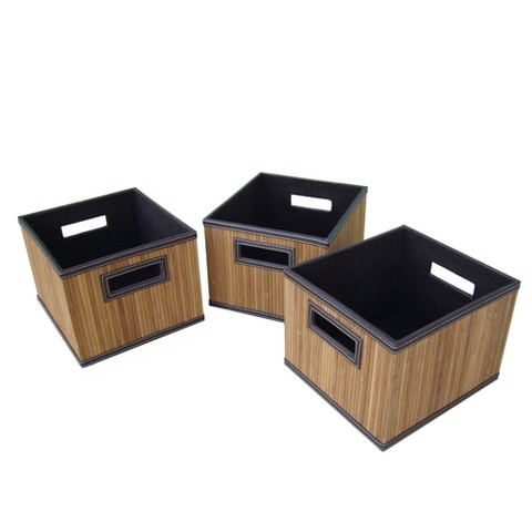 Medium Bamboo Small Milkcrate Set of 3