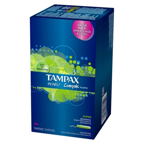 Tampax Pearl Compak Plastic Applicator Super Absorbency Unscented Tampons - 40 Count