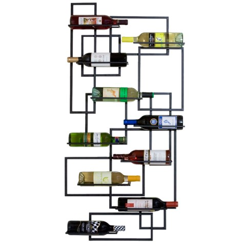 10-Bottle Mid-Century Wall Rack