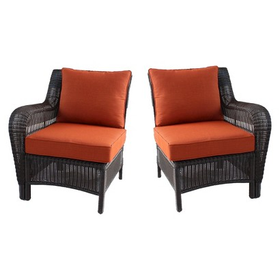 Threshold™ Madaga 2-Piece Wicker Patio Sectional Left & Right Arm Chair Set - Orange