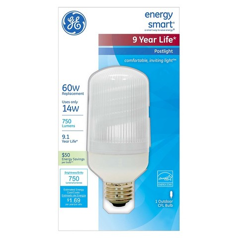 GE 60-Watt Post Light CFL Light Bulb