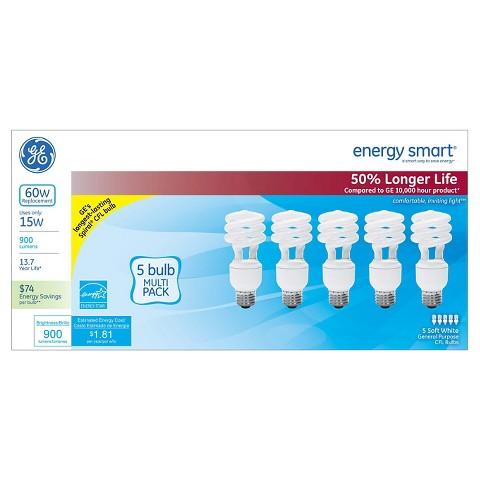 GE 60-Watt CFL Light Bulb (5-Pack) - Soft White