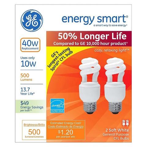 GE 40-Watt CFL Light Bulb (2-Pack)  - Soft White