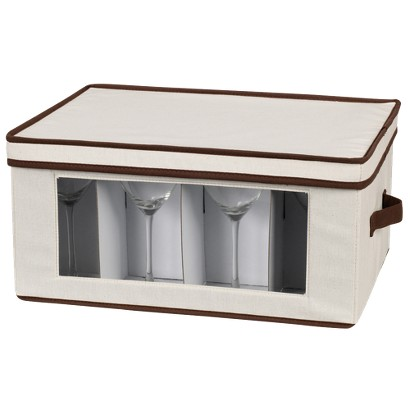 Household Essentials Stemware Goblet Storage Chest