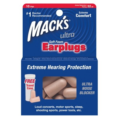 Mack's Ultra Foam Earplugs with Free Travel Case - 20 Count