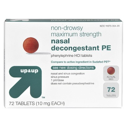 up&up Maximum Strength Nasal Decongestant Non-Drowsy 10 mg Tablets - 72 Count