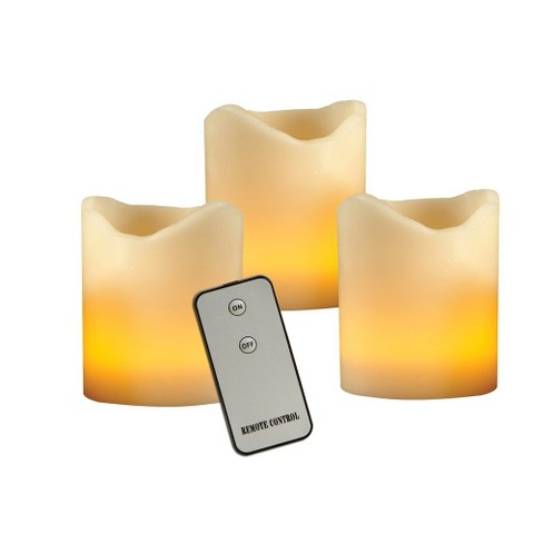 "Set of 3 Flameless Pillar Candles with Remote - Ivory (3"")"