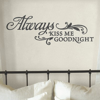 Always Kiss Me Goodnight - Gold Vinyl Wall Decal