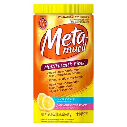 Metamucil Psyllium Fiber Supplement Pink Lemonade Sugar Free Smooth Texture Powder - 114 Doses