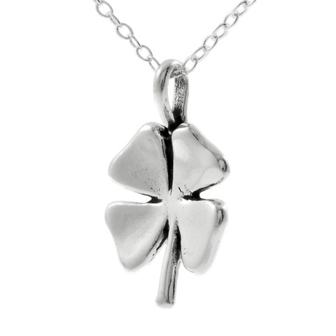 """Journee Collection Silver 4 Leaf Clover Necklace 22"""""""