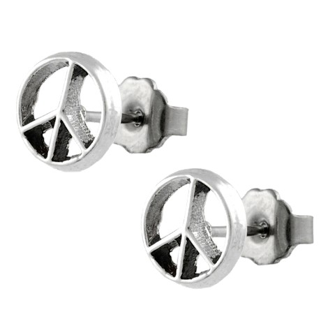 Sterling Silver Peace Stud Earrings