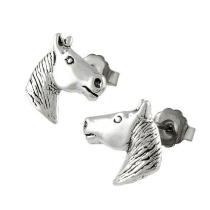 Silver Horse Head Stud Earrings