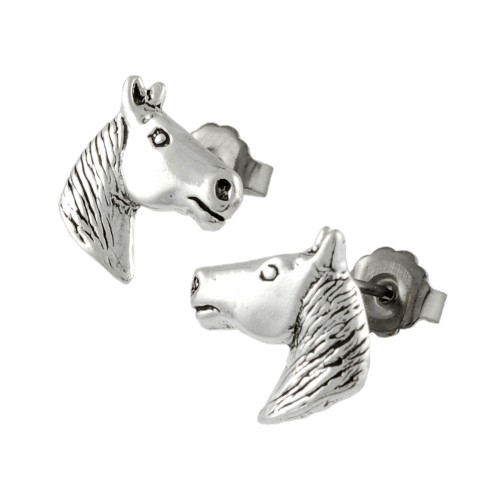 Tressa Collection Silver Horse Head Stud Earrings