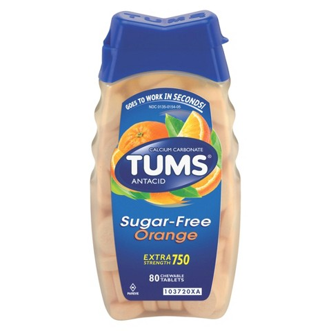 TUMS® Extra Strength Sugar Free Orange Antacid Chewable Tablets - 80 Count