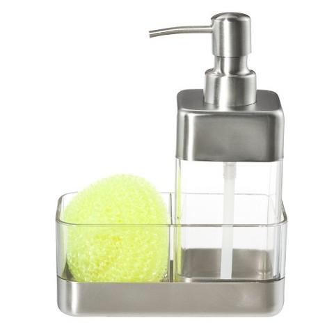 Oggi Pump Dispenser and Scrubby Holder - Clear