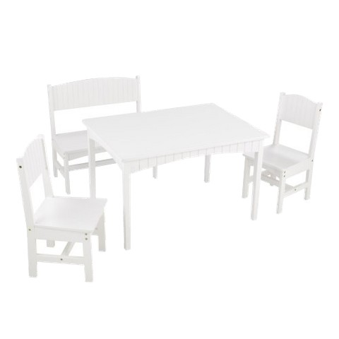 Nantucket Table with Bench and Two Chairs - White