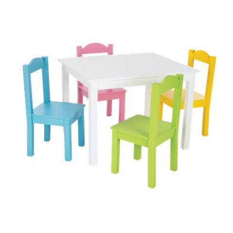Tot Tutors Table & 4 Chairs - White/ Pastel