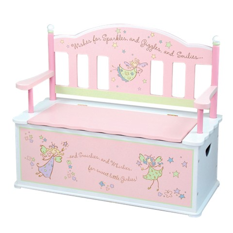 Levels of Discovery Fairy Wishes Bench Seat with Storage - Pastel pink