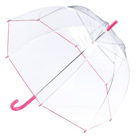 totes® Clear Bubble Umbrella - Claret Pink Trim