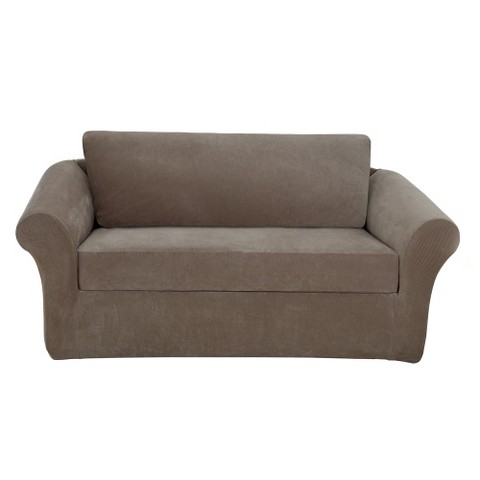 Sure fit stretch pique 3 piece loveseat slipcove target Loveseat stretch slipcovers