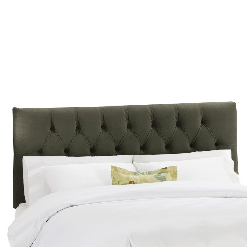Edwardian Velvet Headboard - Pewter