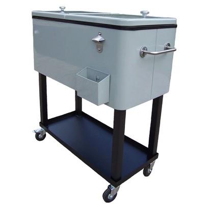 Metal Outdoor Cooler Cart - Black/Silver