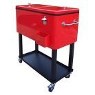 Outdoor Patio Black/Red Metal Outdoor Cooler Cart