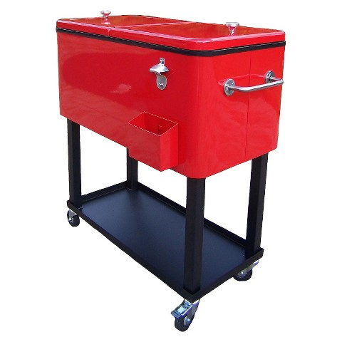 outdoor patio black red metal outdoor cooler cart product details page