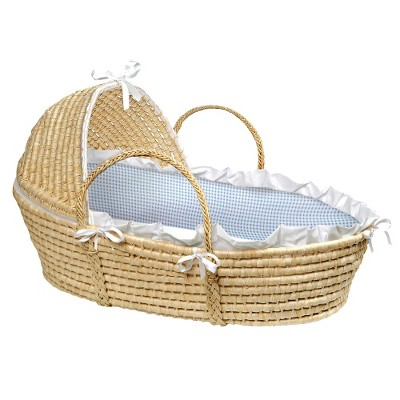 Badger Basket Hooded Moses Basket - Blue Gingham