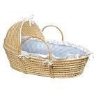 Badger Basket Hooded Moses Basket - Blue Gingham