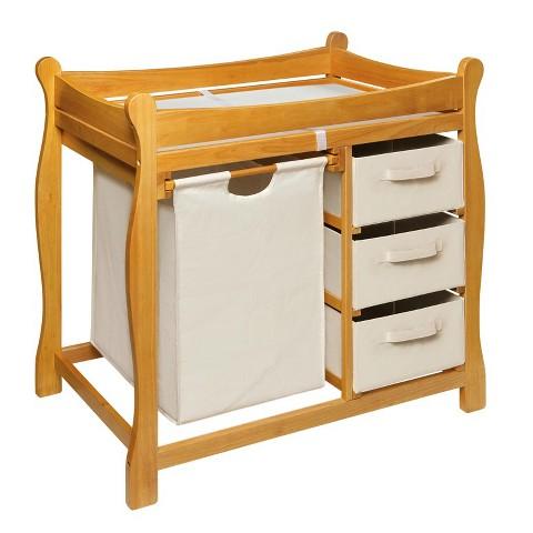 Badger Basket Changing Table with Hamper and Baskets - Honey