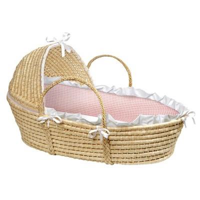 Badger Basket Hooded Moses Basket - Pink Gingham