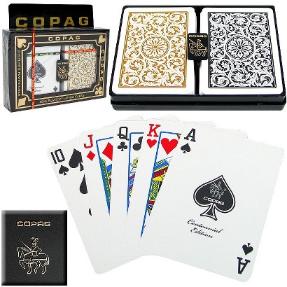 Copag Poker-Size Regular Index Playing Cards - Black/Gold 1546