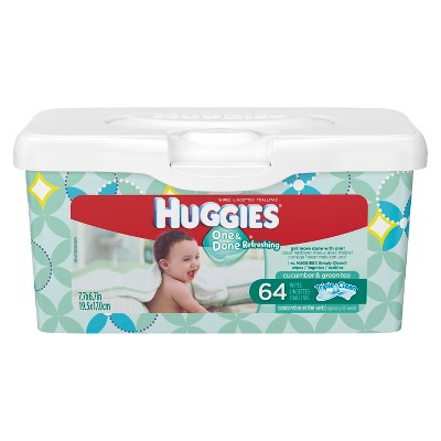 Huggies One & Done Baby Wipes Cucumber & Green Tea 64 ct