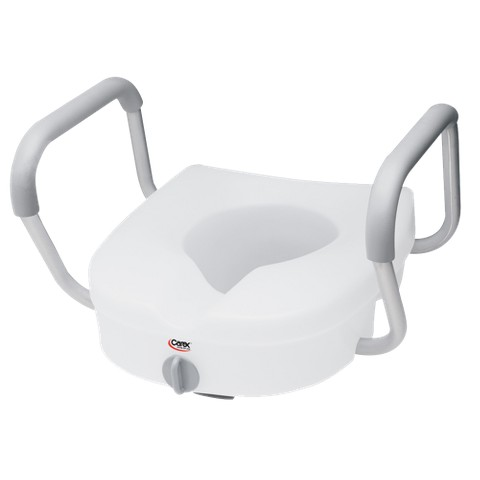 Carex Raised Toilet Seat with Adjustable Armrests - White