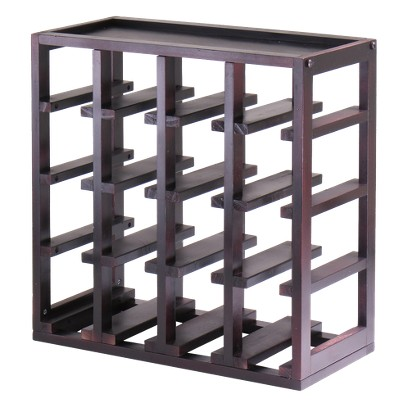 Winsome 16 Bottle Kingston Stackable Wine Cube - Dark Espresso