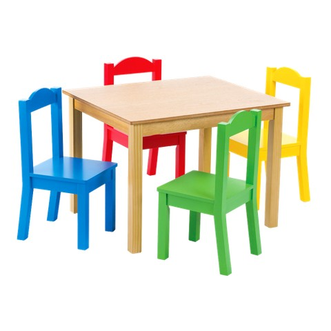 Tot Tutors Wood Table and 4 Chairs in Primary Colors