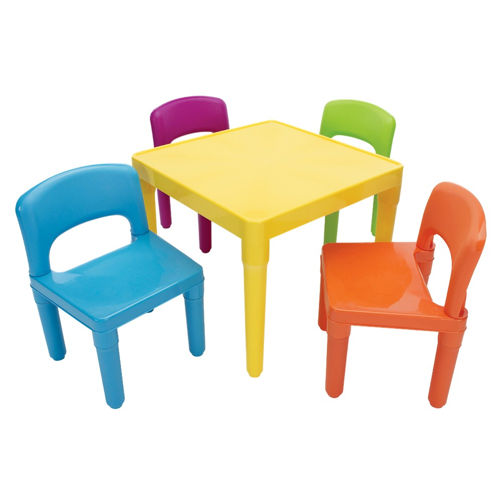 KIDS TABLE AND CHAIR SET: TOT TUTORS PLASTIC TABLE & 4 CHAIRS