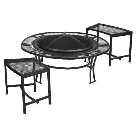 Steel Fire pit and Bench Set